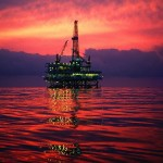 Oil Drilling Platform at Sunset South China Sea.