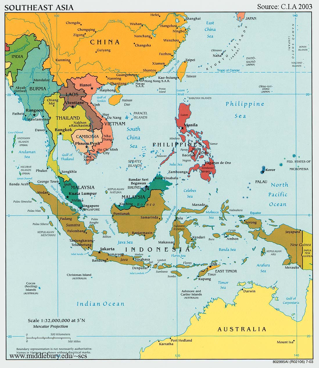 Map Of China In Asia.Southeast Asia Political Map Cia The South China Sea