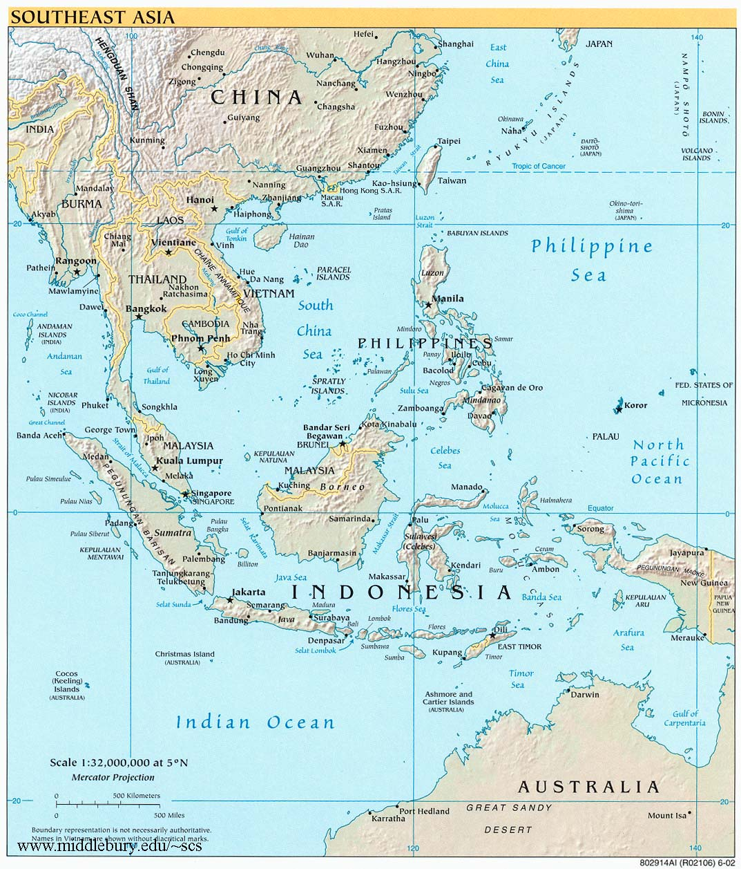 Large Map Of Asia.Southeast Asia Reference Map Cia Large The South China Sea