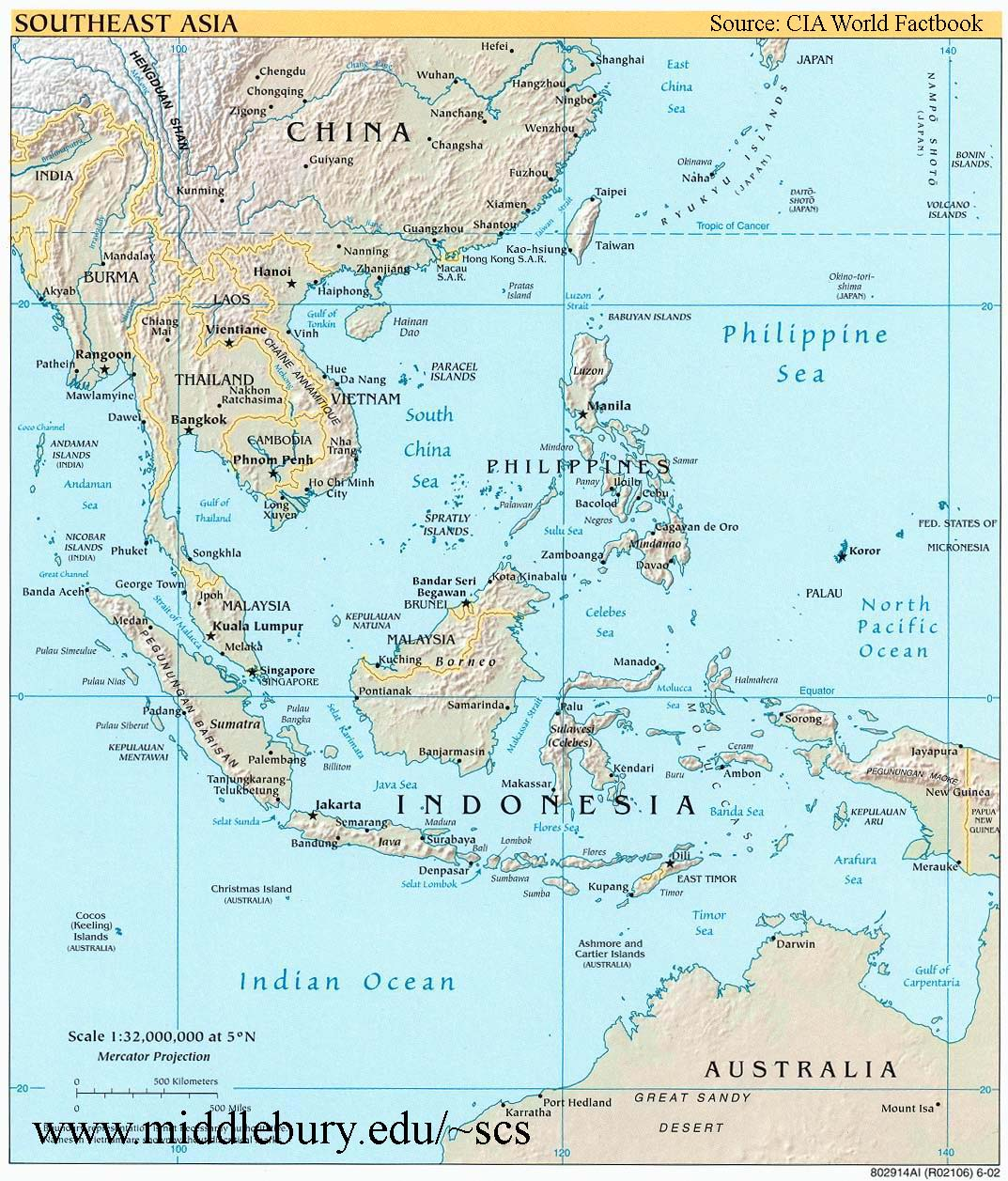 Map Of Asia Rivers And Seas.Southeast Asia Reference Map Cia The South China Sea