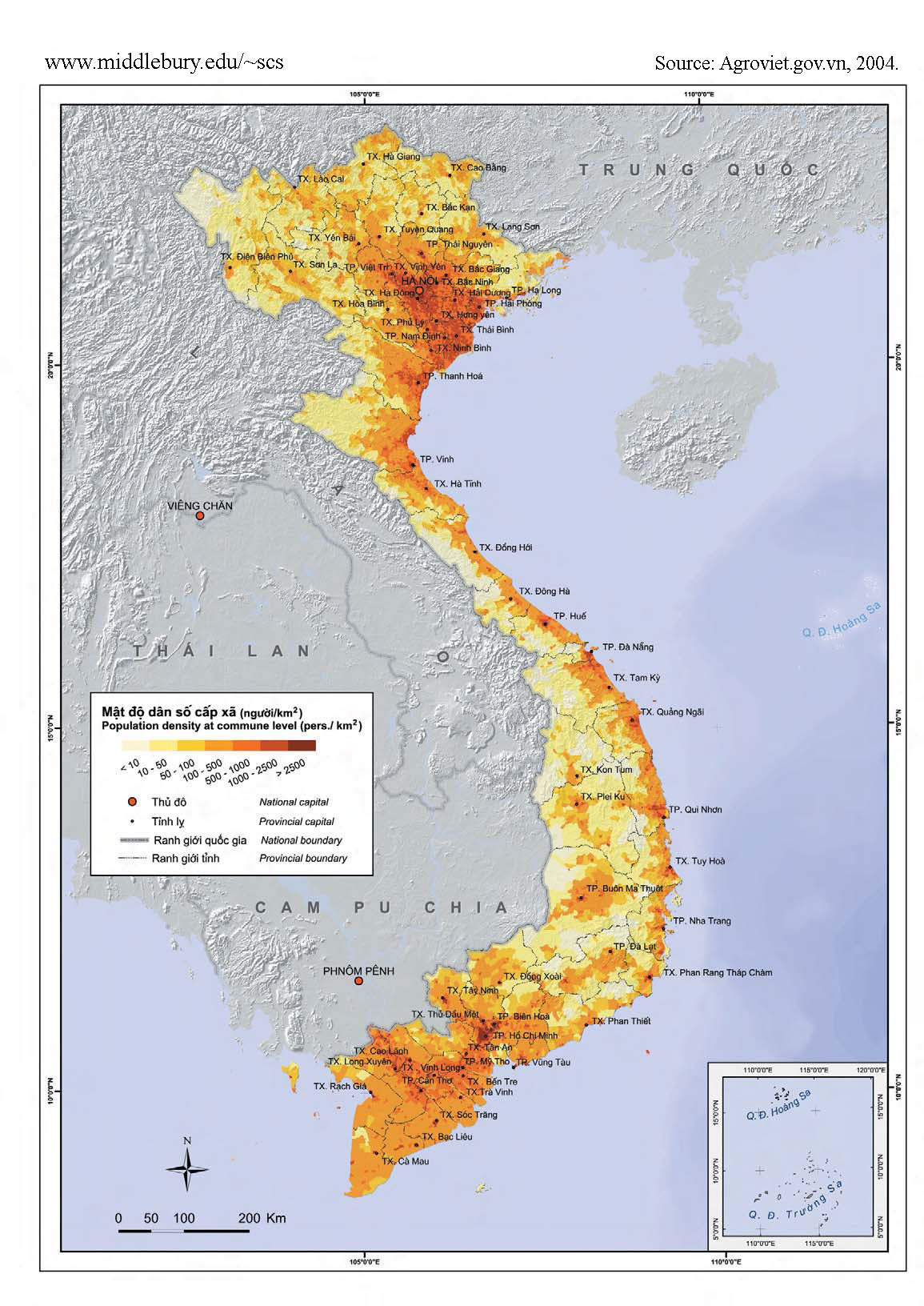 Vietnam Population Density The South China Sea